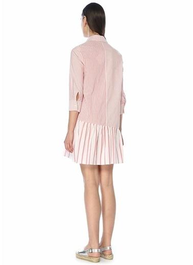 Beymen Club Beymen Club  Çizgili Bloklu Mini Poplin Gömlek Elbise 101446958 Kırmızı